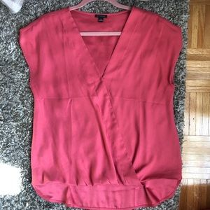 Ann Taylor coral cross front blouse size medium